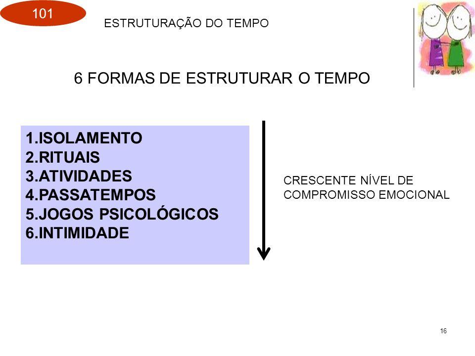 101 16 ESTRUTURAÇÃO DO TEMPO 1.ISOLAMENTO 2.RITUAIS 3.ATIVIDADES 4.PASSATEMPOS 5.JOGOS PSICOLÓGICOS 6.INTIMIDADE CRESCENTE NÍVEL DE COMPROMISSO EMOCIO