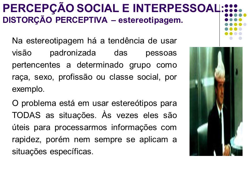 PERCEPÇÃO SOCIAL E INTERPESSOAL: DISTORÇÃO PERCEPTIVA - Efeito Halo.