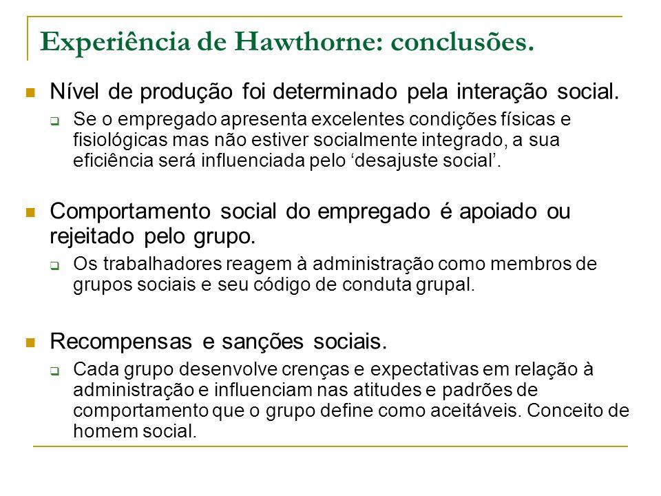 Experiência de Hawthorne: conclusões. Nível de produção foi determinado pela interação social. Se o empregado apresenta excelentes condições físicas e