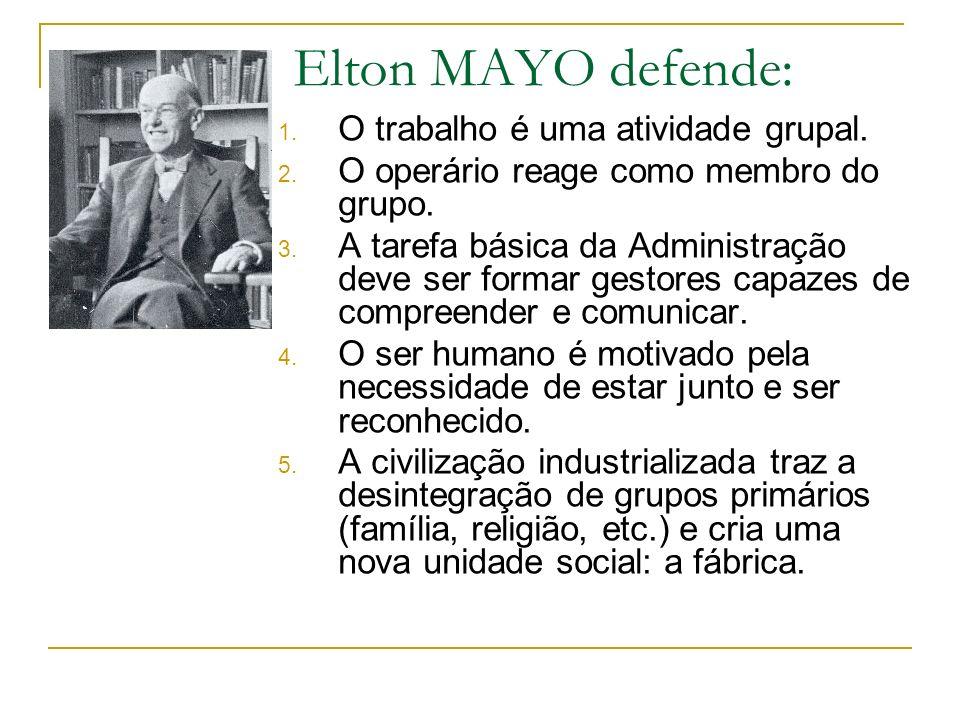 Elton MAYO defende: 1. O trabalho é uma atividade grupal. 2. O operário reage como membro do grupo. 3. A tarefa básica da Administração deve ser forma