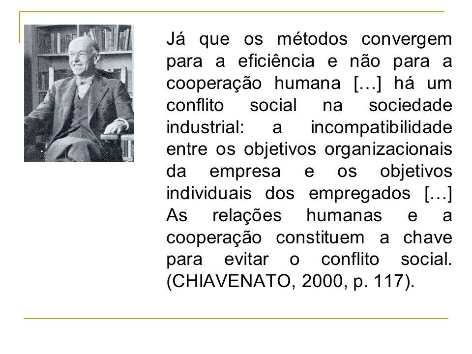 Já que os métodos convergem para a eficiência e não para a cooperação humana […] há um conflito social na sociedade industrial: a incompatibilidade en