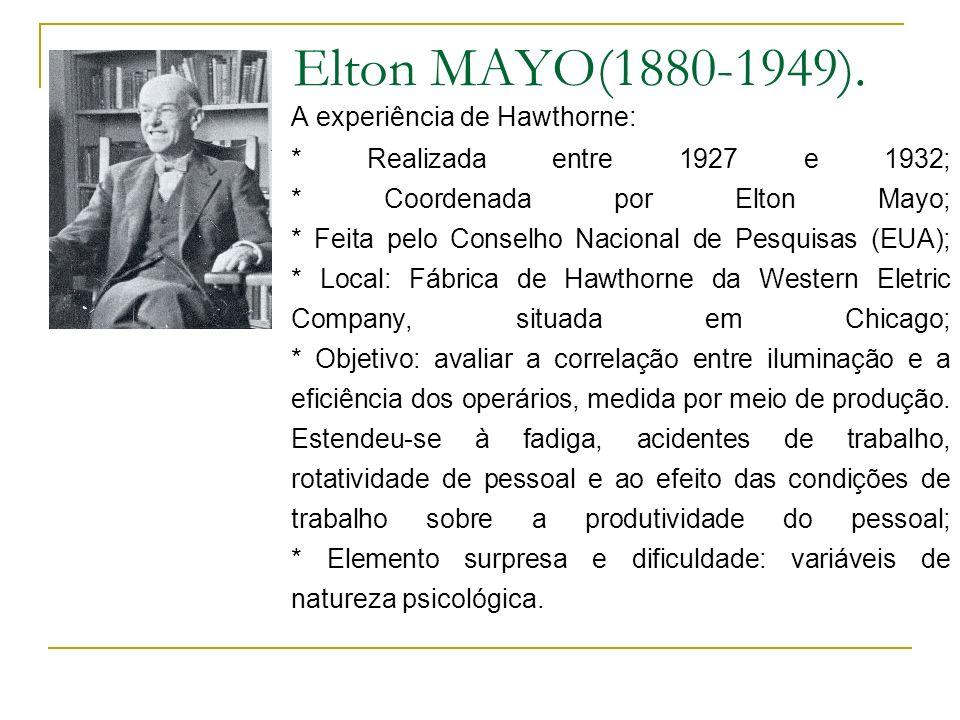 Elton MAYO(1880-1949). A experiência de Hawthorne: * Realizada entre 1927 e 1932; * Coordenada por Elton Mayo; * Feita pelo Conselho Nacional de Pesqu