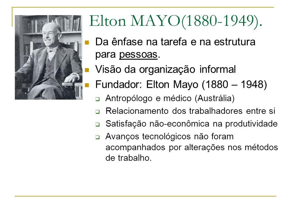 Elton MAYO(1880-1949). Da ênfase na tarefa e na estrutura para pessoas. Visão da organização informal Fundador: Elton Mayo (1880 – 1948) Antropólogo e
