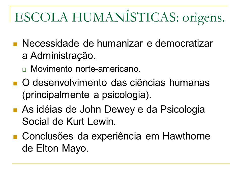 ESCOLA HUMANÍSTICAS: origens. Necessidade de humanizar e democratizar a Administração. Movimento norte-americano. O desenvolvimento das ciências human