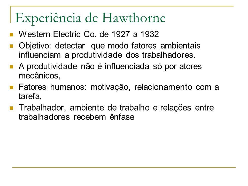 Experiência de Hawthorne Western Electric Co. de 1927 a 1932 Objetivo: detectar que modo fatores ambientais influenciam a produtividade dos trabalhado