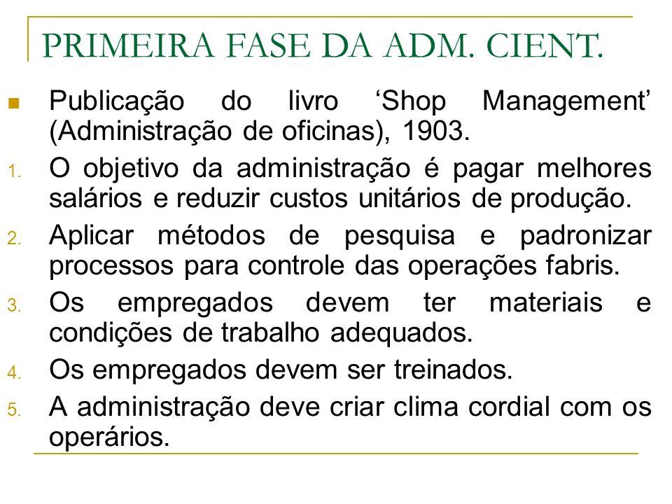 Publicação do livro Shop Management (Administração de oficinas), 1903. 1. O objetivo da administração é pagar melhores salários e reduzir custos unitá