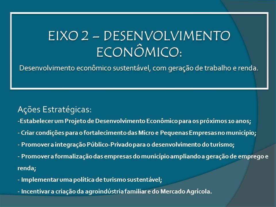 EIXO 2 – DESENVOLVIMENTO ECONÔMICO: Desenvolvimento econômico sustentável, com geração de trabalho e renda. Ações Estratégicas: -Estabelecer um Projet