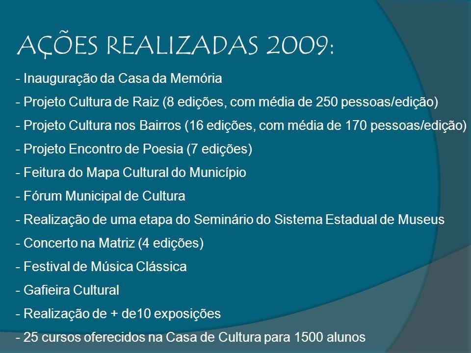 AÇÕES REALIZADAS 2009: - Inauguração da Casa da Memória - Projeto Cultura de Raiz (8 edições, com média de 250 pessoas/edição) - Projeto Cultura nos Bairros (16 edições, com média de 170 pessoas/edição) - Projeto Encontro de Poesia (7 edições) - Feitura do Mapa Cultural do Município - Fórum Municipal de Cultura - Realização de uma etapa do Seminário do Sistema Estadual de Museus - Concerto na Matriz (4 edições) - Festival de Música Clássica - Gafieira Cultural - Realização de + de10 exposições - 25 cursos oferecidos na Casa de Cultura para 1500 alunos