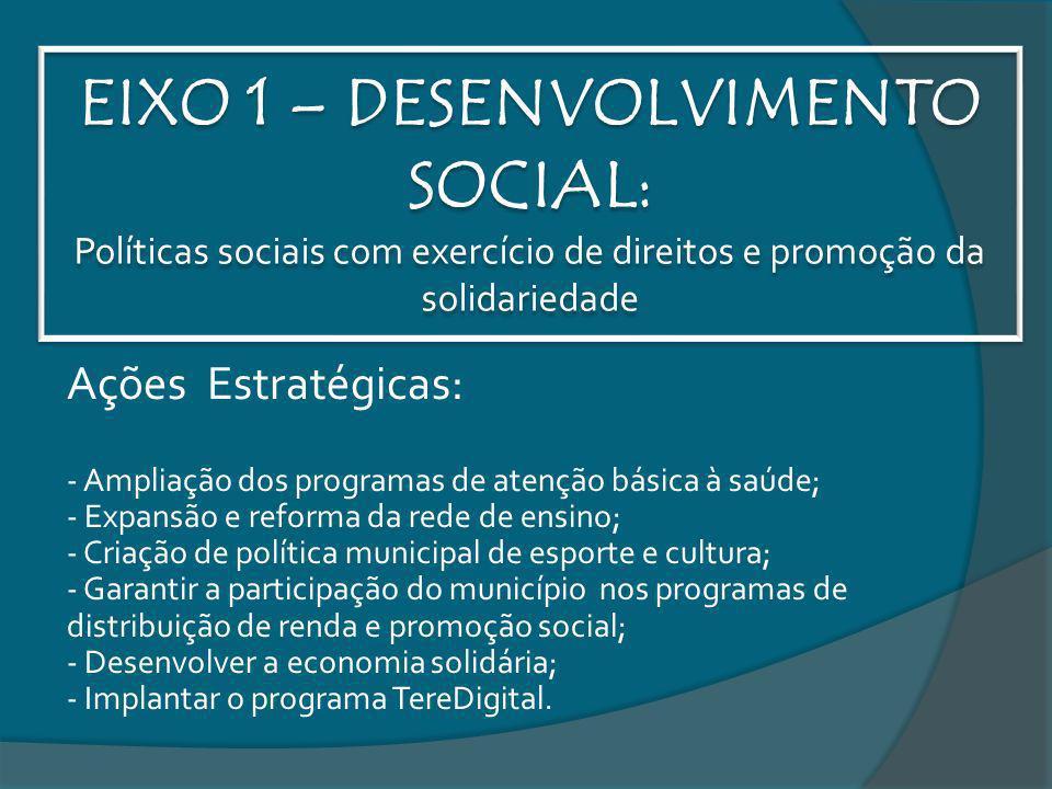 EIXO 1 – DESENVOLVIMENTO SOCIAL: Políticas sociais com exercício de direitos e promoção da solidariedade Ações Estratégicas: - Ampliação dos programas