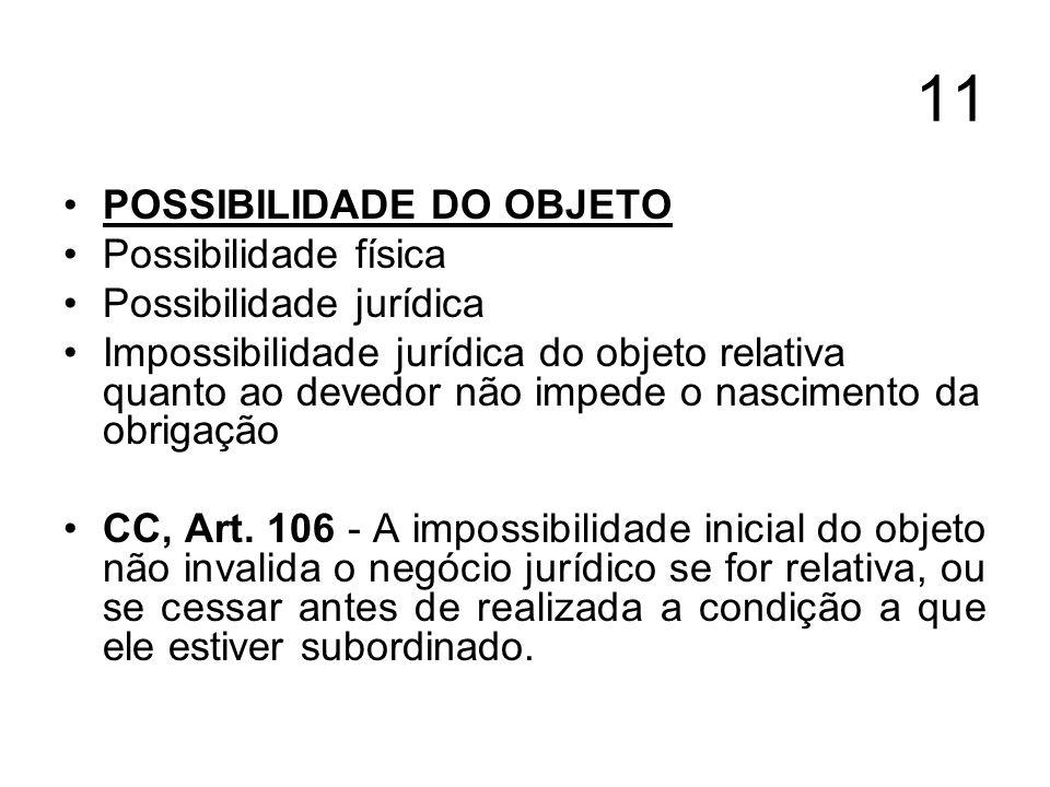 11 POSSIBILIDADE DO OBJETO Possibilidade física Possibilidade jurídica Impossibilidade jurídica do objeto relativa quanto ao devedor não impede o nasc