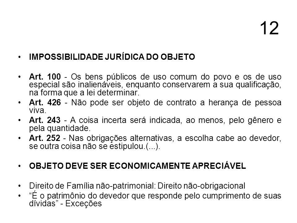12 IMPOSSIBILIDADE JURÍDICA DO OBJETO Art. 100 - Os bens públicos de uso comum do povo e os de uso especial são inalienáveis, enquanto conservarem a s