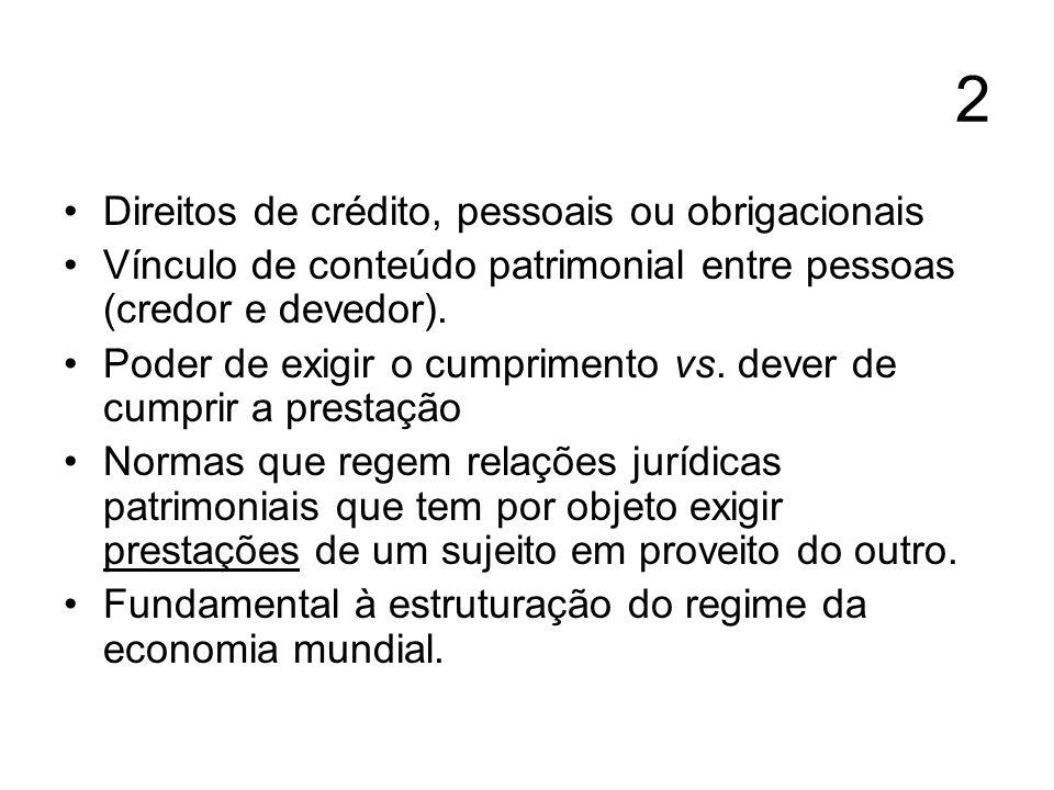 2 Direitos de crédito, pessoais ou obrigacionais Vínculo de conteúdo patrimonial entre pessoas (credor e devedor). Poder de exigir o cumprimento vs. d