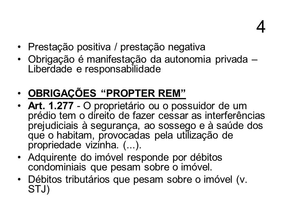 4 Prestação positiva / prestação negativa Obrigação é manifestação da autonomia privada – Liberdade e responsabilidade OBRIGAÇÕES PROPTER REM Art. 1.2