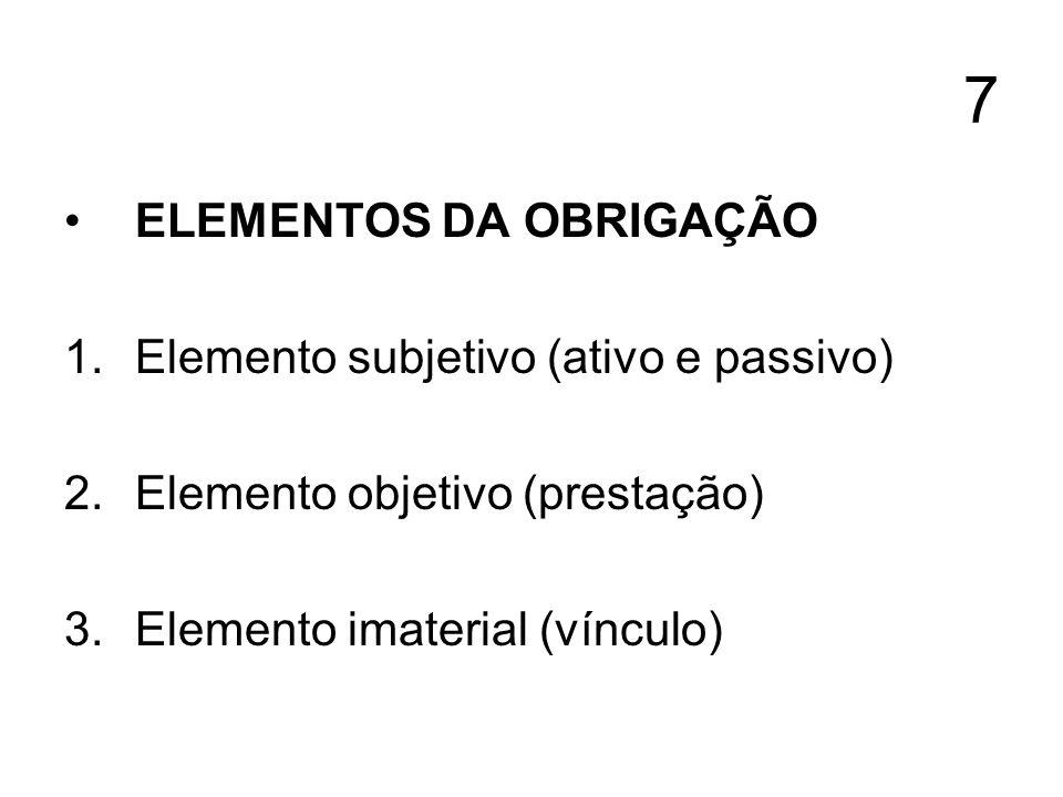 7 ELEMENTOS DA OBRIGAÇÃO 1.Elemento subjetivo (ativo e passivo) 2.Elemento objetivo (prestação) 3.Elemento imaterial (vínculo)
