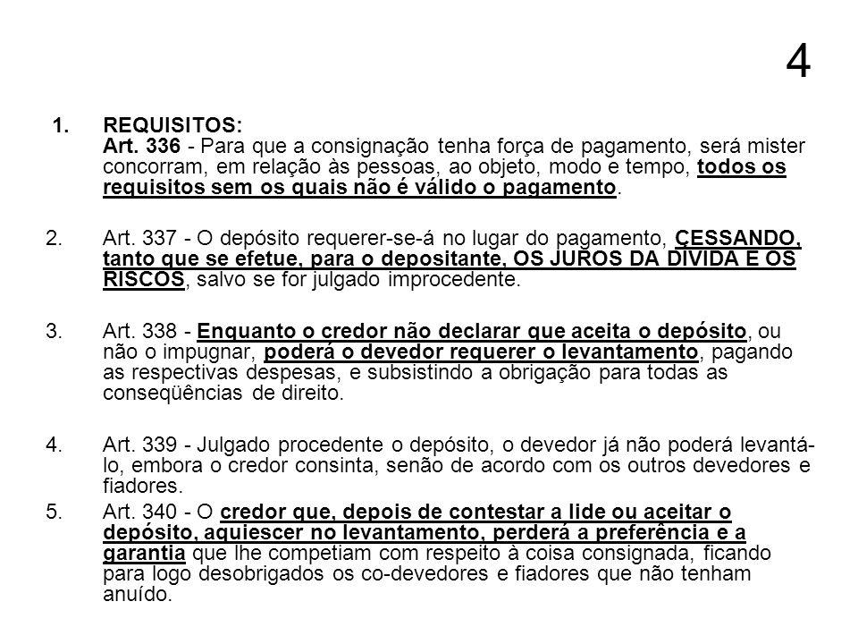 4 1.REQUISITOS: Art. 336 - Para que a consignação tenha força de pagamento, será mister concorram, em relação às pessoas, ao objeto, modo e tempo, tod