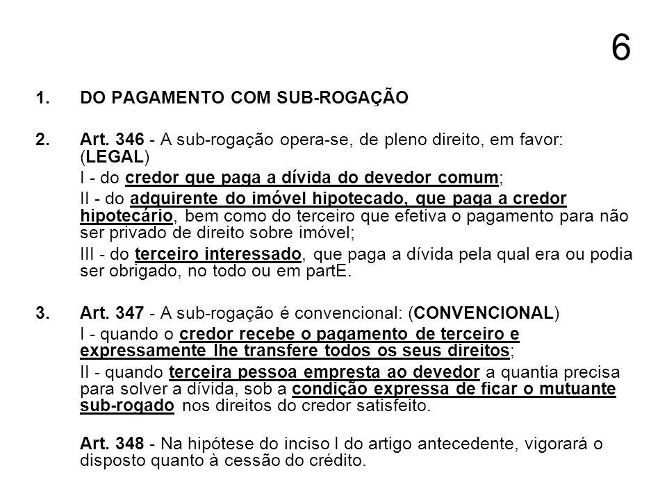 7 1.DO PAGAMENTO COM SUB-ROGAÇÃO 2.Art.