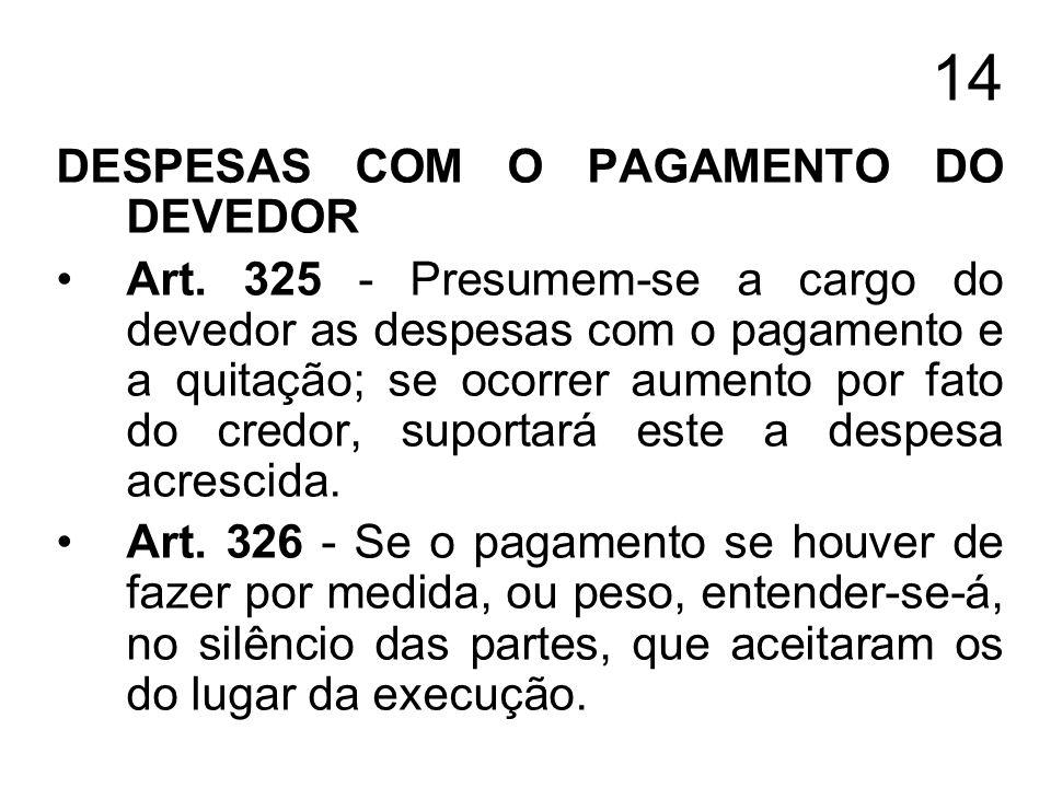 14 DESPESAS COM O PAGAMENTO DO DEVEDOR Art. 325 - Presumem-se a cargo do devedor as despesas com o pagamento e a quitação; se ocorrer aumento por fato