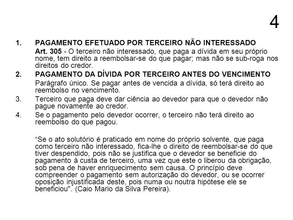 4 1. PAGAMENTO EFETUADO POR TERCEIRO NÃO INTERESSADO Art. 305 - O terceiro não interessado, que paga a dívida em seu próprio nome, tem direito a reemb