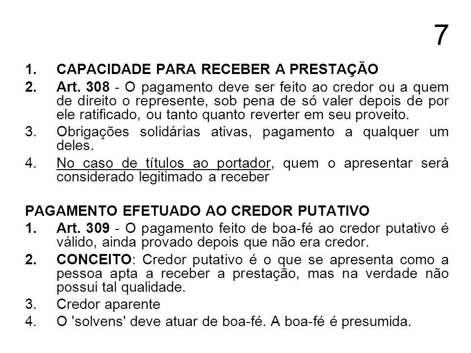 8 1.PAGAMENTO FEITO A CREDOR INCAPAZ 2.Art.