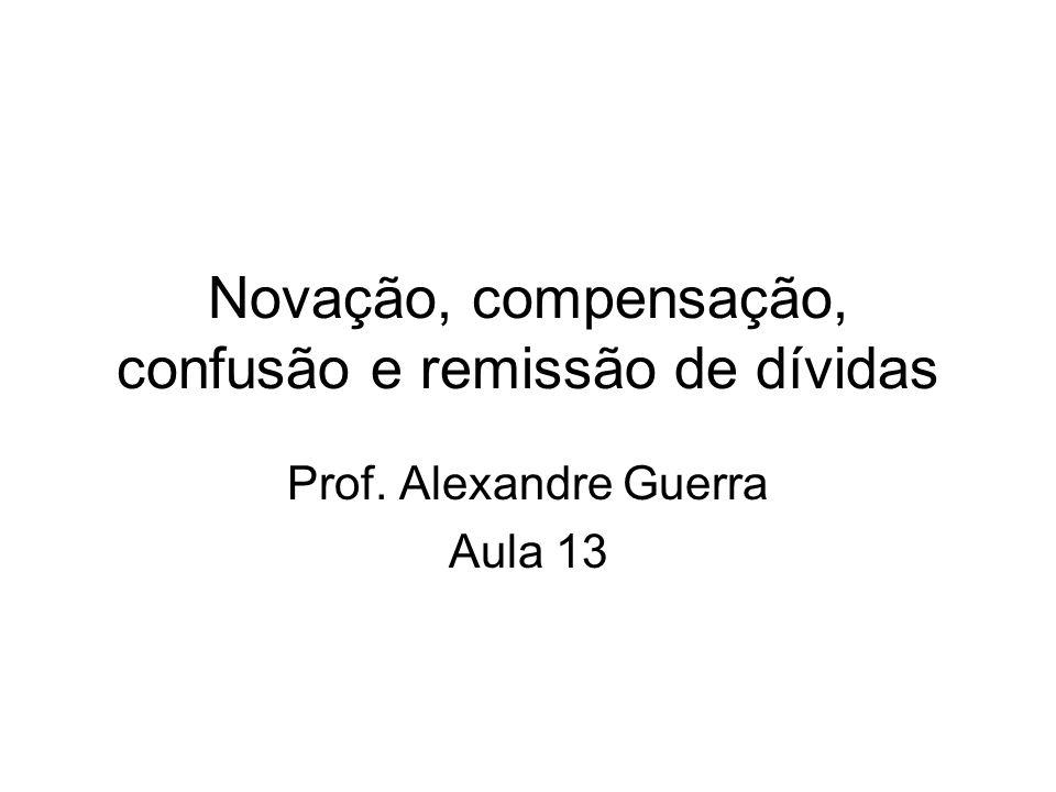 Novação, compensação, confusão e remissão de dívidas Prof. Alexandre Guerra Aula 13
