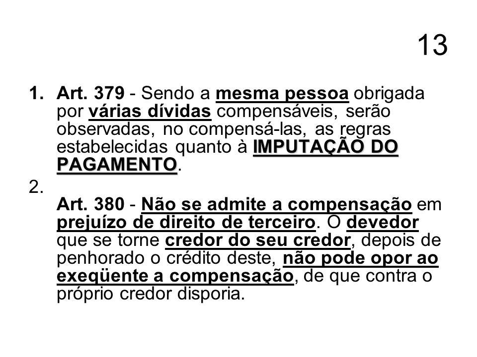 13 IMPUTAÇÃO DO PAGAMENTO 1.Art. 379 - Sendo a mesma pessoa obrigada por várias dívidas compensáveis, serão observadas, no compensá-las, as regras est