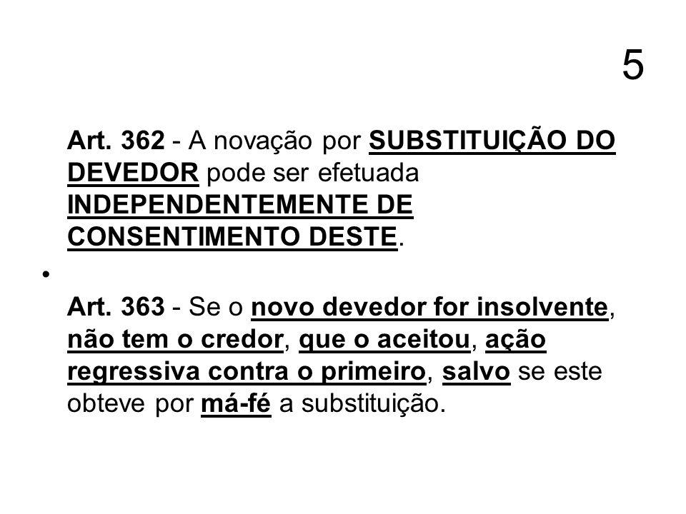 5 Art. 362 - A novação por SUBSTITUIÇÃO DO DEVEDOR pode ser efetuada INDEPENDENTEMENTE DE CONSENTIMENTO DESTE. Art. 363 - Se o novo devedor for insolv