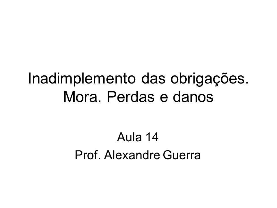 Inadimplemento das obrigações. Mora. Perdas e danos Aula 14 Prof. Alexandre Guerra
