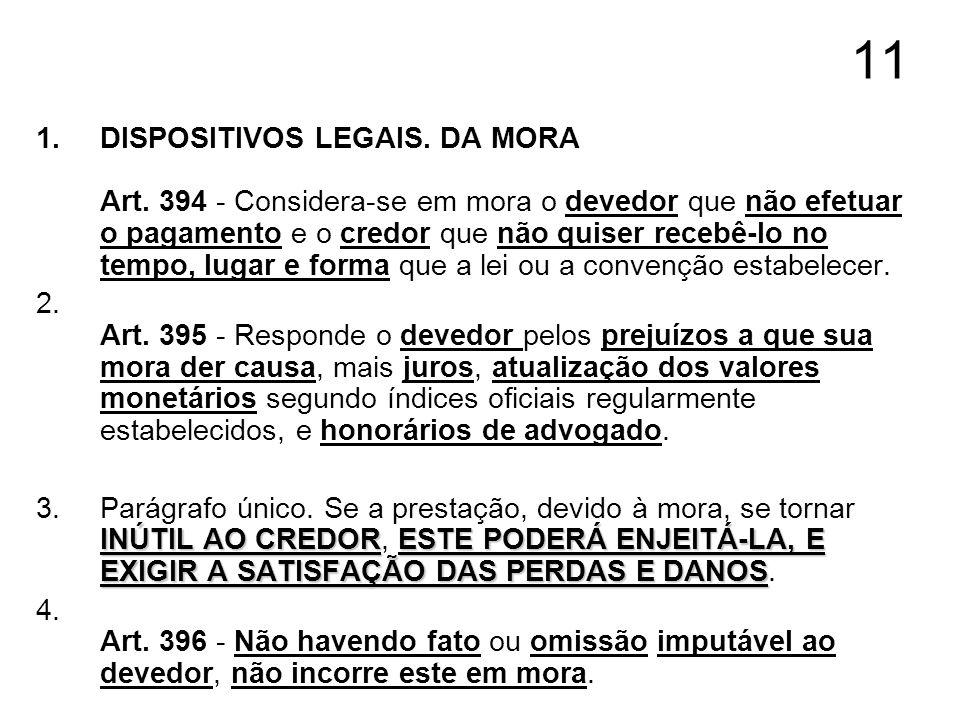 11 1.DISPOSITIVOS LEGAIS. DA MORA Art. 394 - Considera-se em mora o devedor que não efetuar o pagamento e o credor que não quiser recebê-lo no tempo,
