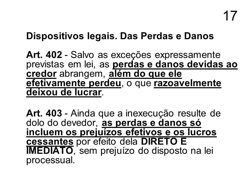 17 Dispositivos legais. Das Perdas e Danos Art. 402 - Salvo as exceções expressamente previstas em lei, as perdas e danos devidas ao credor abrangem,
