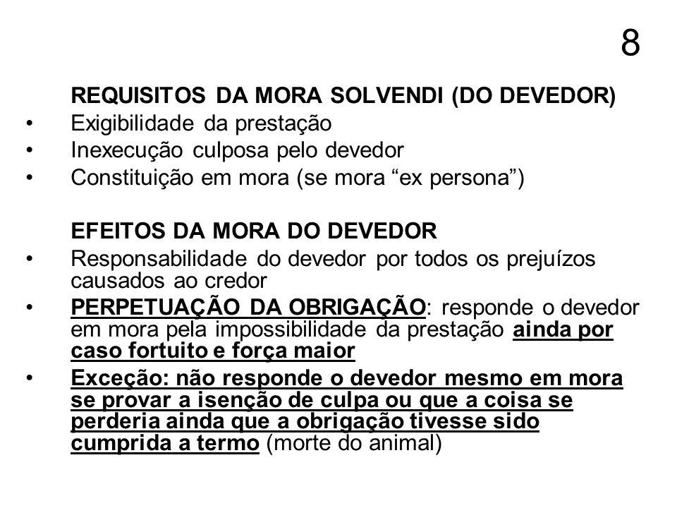 8 REQUISITOS DA MORA SOLVENDI (DO DEVEDOR) Exigibilidade da prestação Inexecução culposa pelo devedor Constituição em mora (se mora ex persona) EFEITO