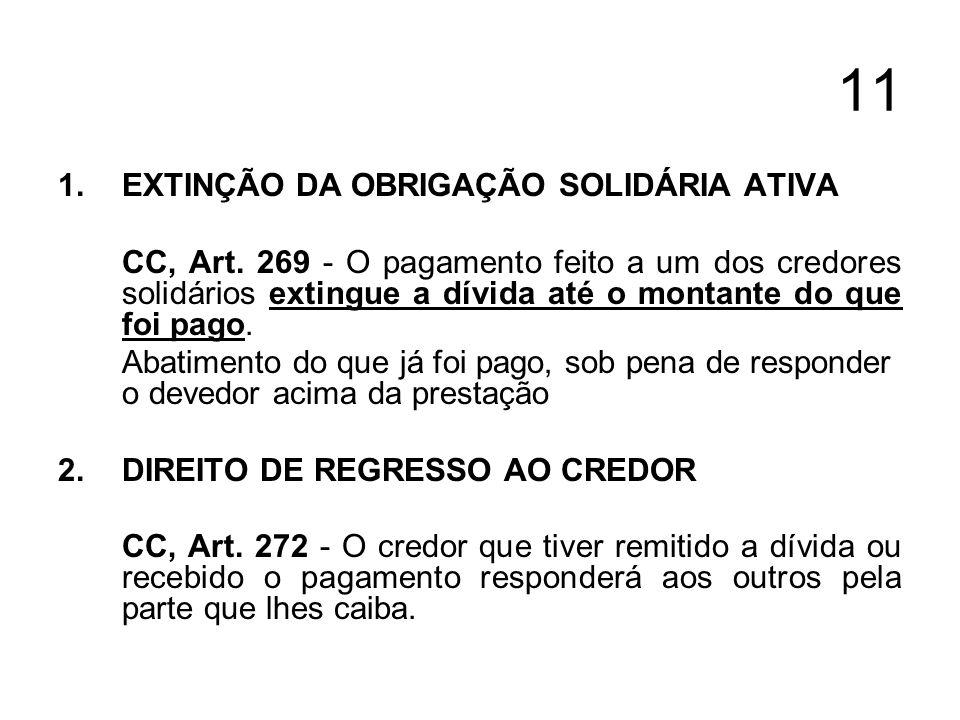 11 1.EXTINÇÃO DA OBRIGAÇÃO SOLIDÁRIA ATIVA CC, Art. 269 - O pagamento feito a um dos credores solidários extingue a dívida até o montante do que foi p