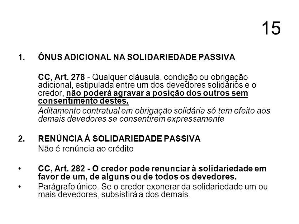 15 1.ÔNUS ADICIONAL NA SOLIDARIEDADE PASSIVA CC, Art. 278 - Qualquer cláusula, condição ou obrigação adicional, estipulada entre um dos devedores soli