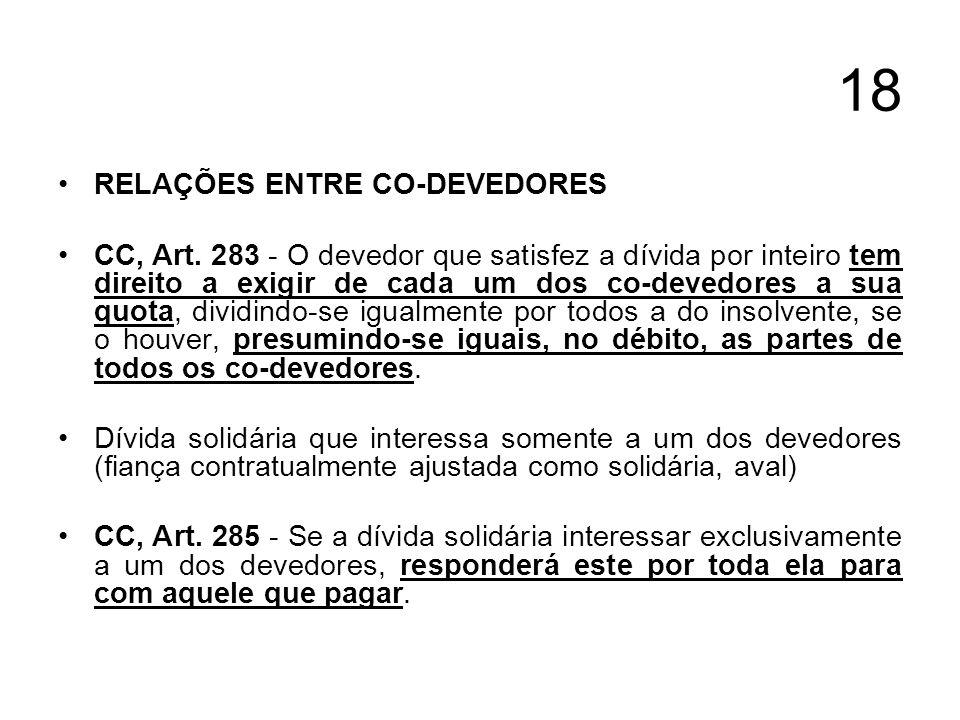 18 RELAÇÕES ENTRE CO-DEVEDORES CC, Art. 283 - O devedor que satisfez a dívida por inteiro tem direito a exigir de cada um dos co-devedores a sua quota