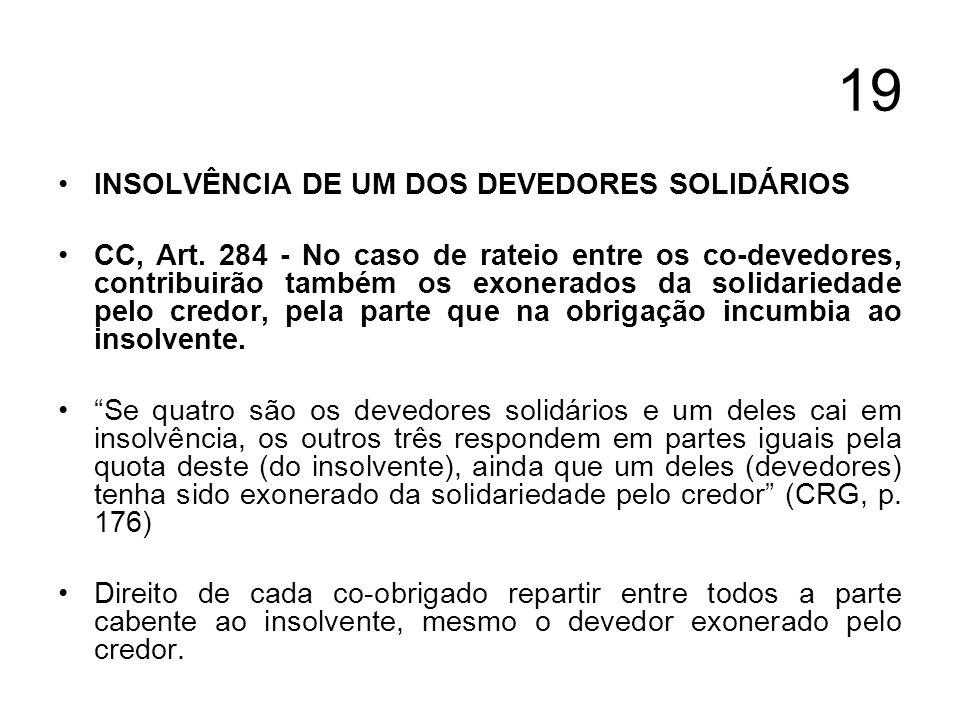 19 INSOLVÊNCIA DE UM DOS DEVEDORES SOLIDÁRIOS CC, Art. 284 - No caso de rateio entre os co-devedores, contribuirão também os exonerados da solidarieda