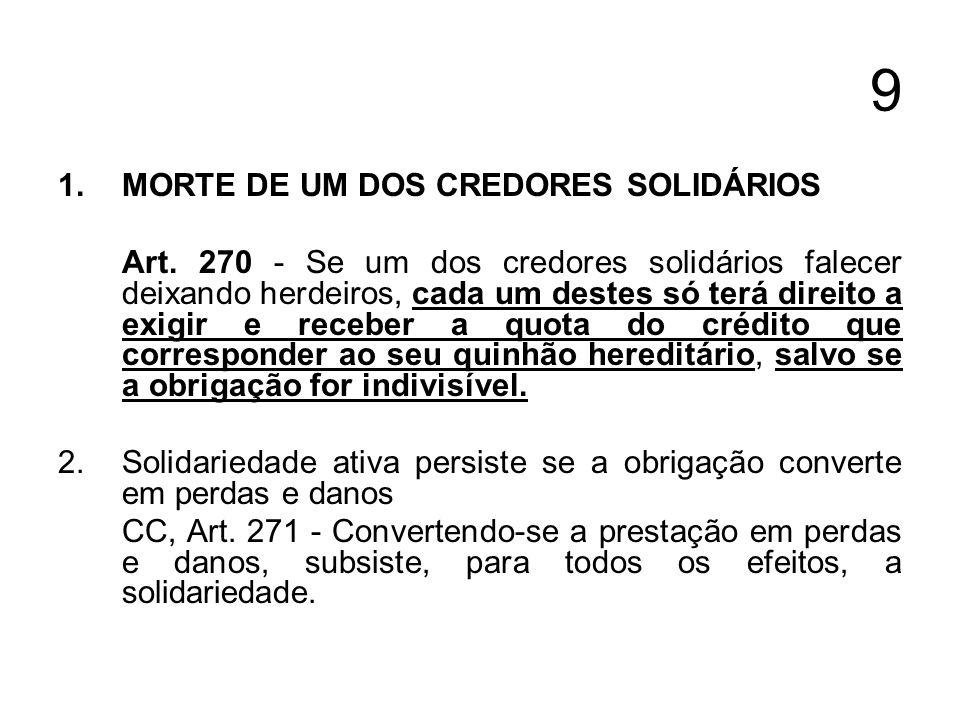 9 1.MORTE DE UM DOS CREDORES SOLIDÁRIOS Art. 270 - Se um dos credores solidários falecer deixando herdeiros, cada um destes só terá direito a exigir e