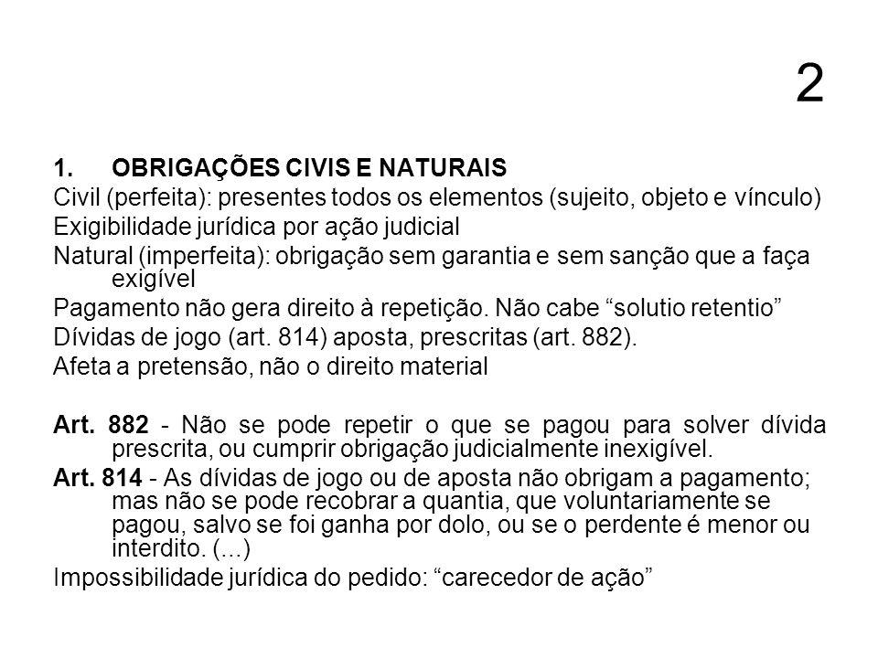 2 1.OBRIGAÇÕES CIVIS E NATURAIS Civil (perfeita): presentes todos os elementos (sujeito, objeto e vínculo) Exigibilidade jurídica por ação judicial Na