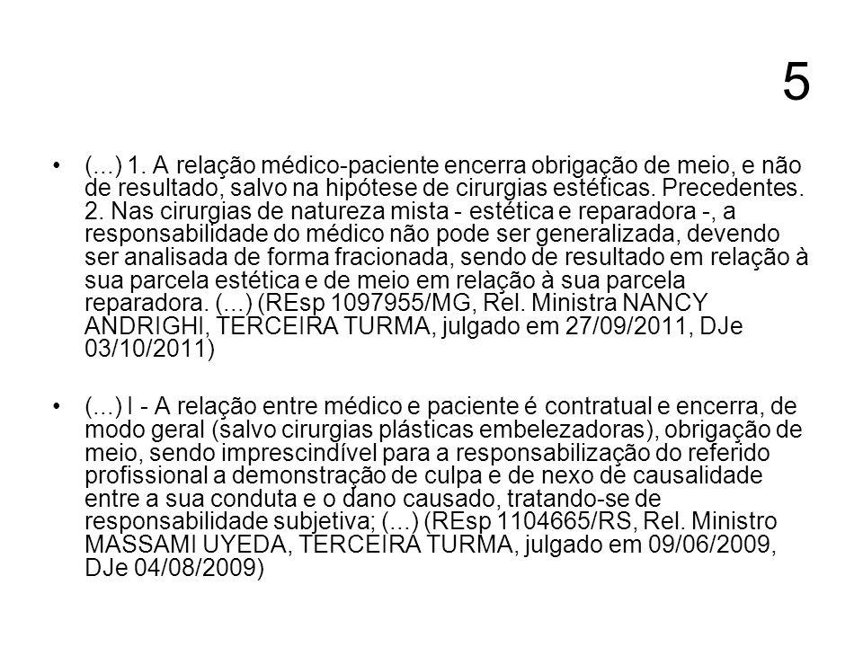 5 (...) 1. A relação médico-paciente encerra obrigação de meio, e não de resultado, salvo na hipótese de cirurgias estéticas. Precedentes. 2. Nas ciru