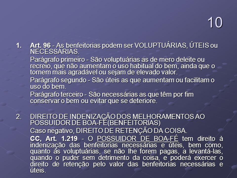 10 1. Art. 96 - As benfeitorias podem ser VOLUPTUÁRIAS, ÚTEIS ou NECESSÁRIAS. 1. Art. 96 - As benfeitorias podem ser VOLUPTUÁRIAS, ÚTEIS ou NECESSÁRIA