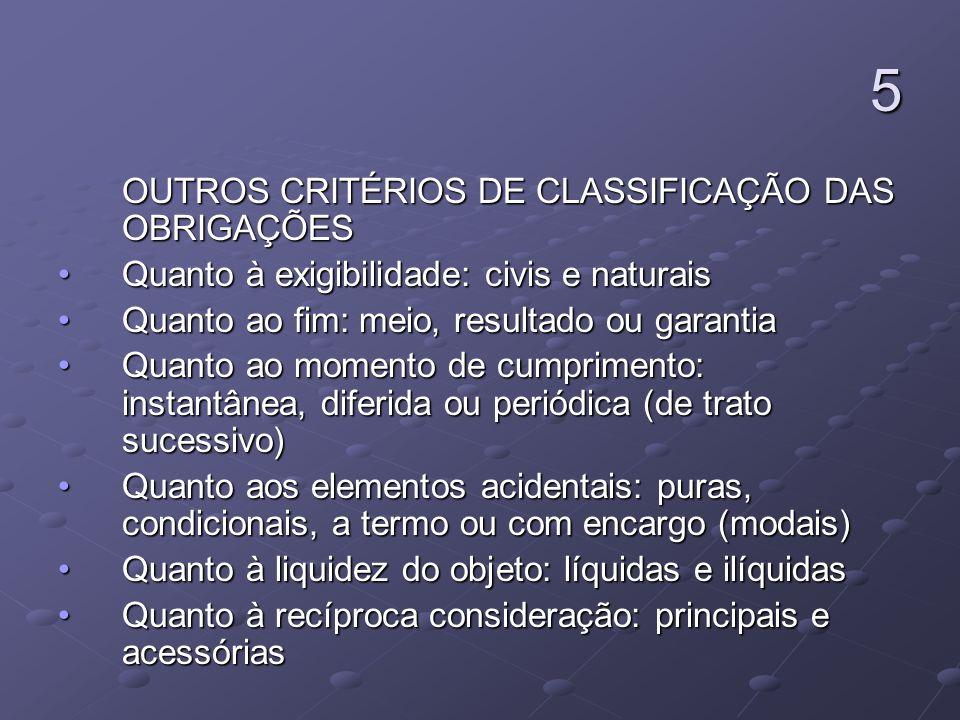 5 OUTROS CRITÉRIOS DE CLASSIFICAÇÃO DAS OBRIGAÇÕES OUTROS CRITÉRIOS DE CLASSIFICAÇÃO DAS OBRIGAÇÕES Quanto à exigibilidade: civis e naturaisQuanto à e
