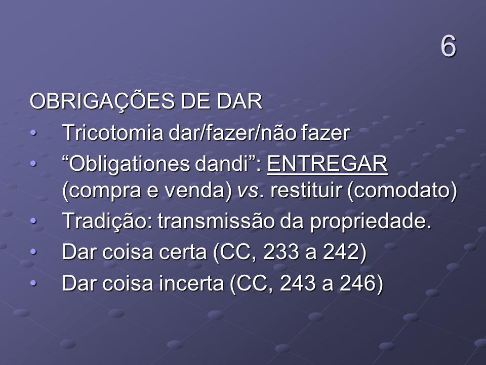 6 OBRIGAÇÕES DE DAR Tricotomia dar/fazer/não fazerTricotomia dar/fazer/não fazer Obligationes dandi: ENTREGAR (compra e venda) vs. restituir (comodato