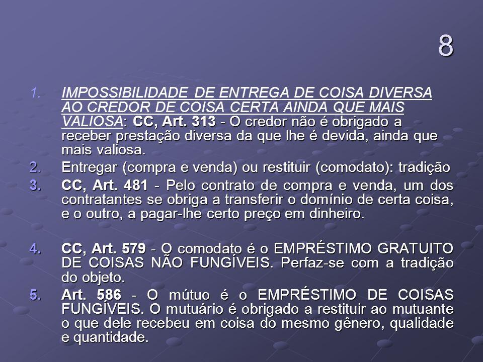 9 DIREITO AOS MELHORAMENTOS E ACRESCIDOS 1.Na obrigação de dar: CC, Art.