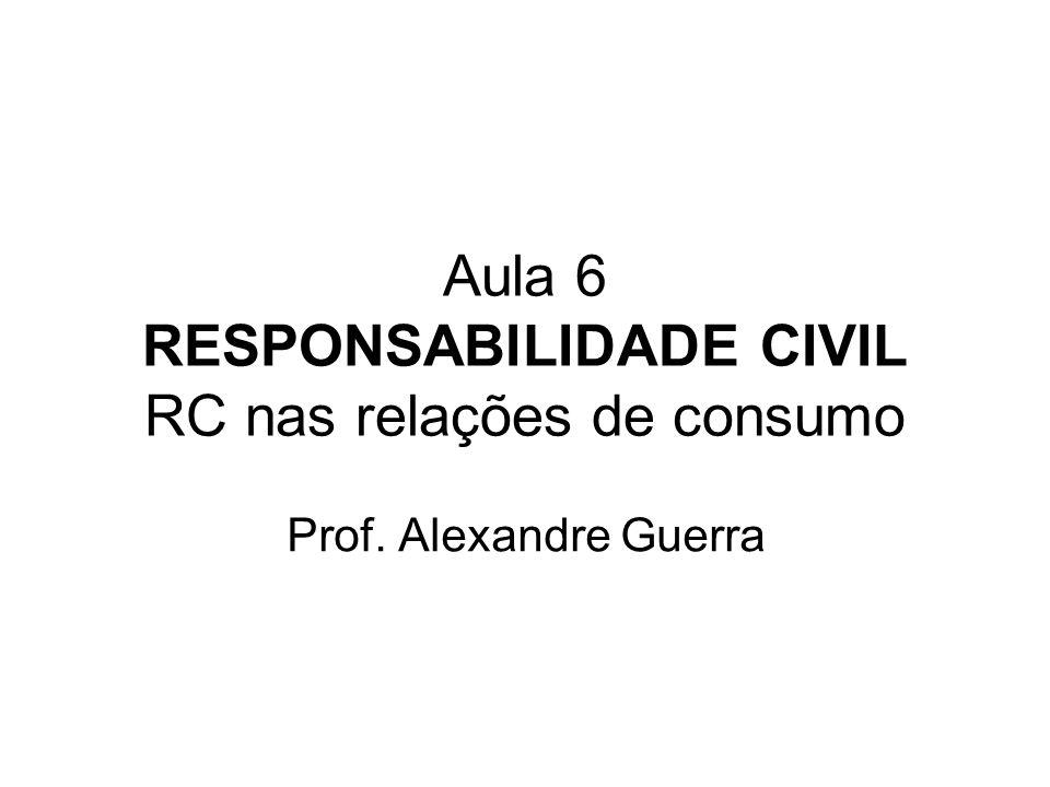 Aula 6 RESPONSABILIDADE CIVIL RC nas relações de consumo Prof. Alexandre Guerra