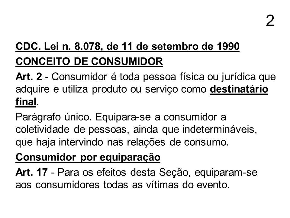 2 CDC. Lei n. 8.078, de 11 de setembro de 1990 CONCEITO DE CONSUMIDOR Art. 2 - Consumidor é toda pessoa física ou jurídica que adquire e utiliza produ