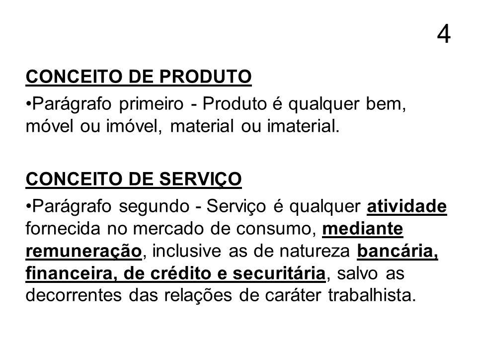 4 CONCEITO DE PRODUTO Parágrafo primeiro - Produto é qualquer bem, móvel ou imóvel, material ou imaterial. CONCEITO DE SERVIÇO Parágrafo segundo - Ser