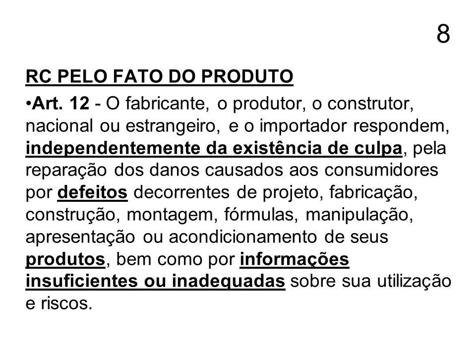 8 RC PELO FATO DO PRODUTO Art. 12 - O fabricante, o produtor, o construtor, nacional ou estrangeiro, e o importador respondem, independentemente da ex