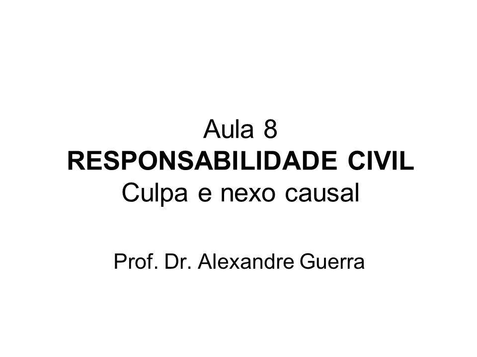 Aula 8 RESPONSABILIDADE CIVIL Culpa e nexo causal Prof. Dr. Alexandre Guerra