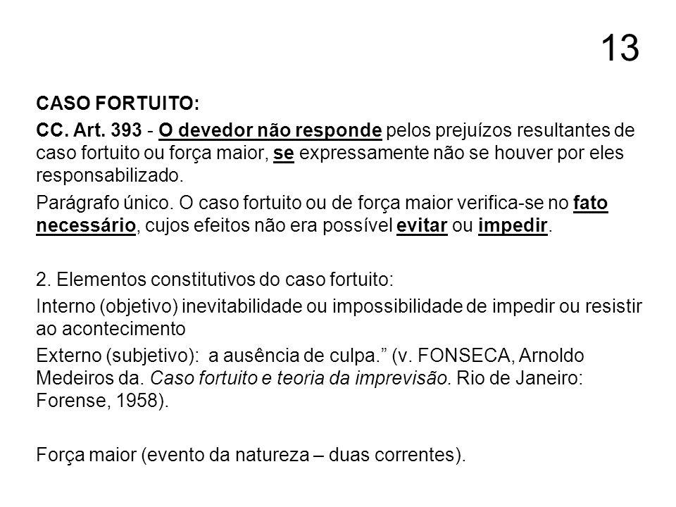 13 CASO FORTUITO: CC. Art. 393 - O devedor não responde pelos prejuízos resultantes de caso fortuito ou força maior, se expressamente não se houver po