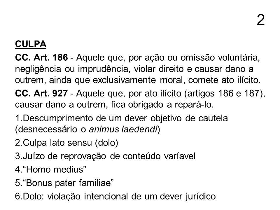 2 CULPA CC. Art. 186 - Aquele que, por ação ou omissão voluntária, negligência ou imprudência, violar direito e causar dano a outrem, ainda que exclus