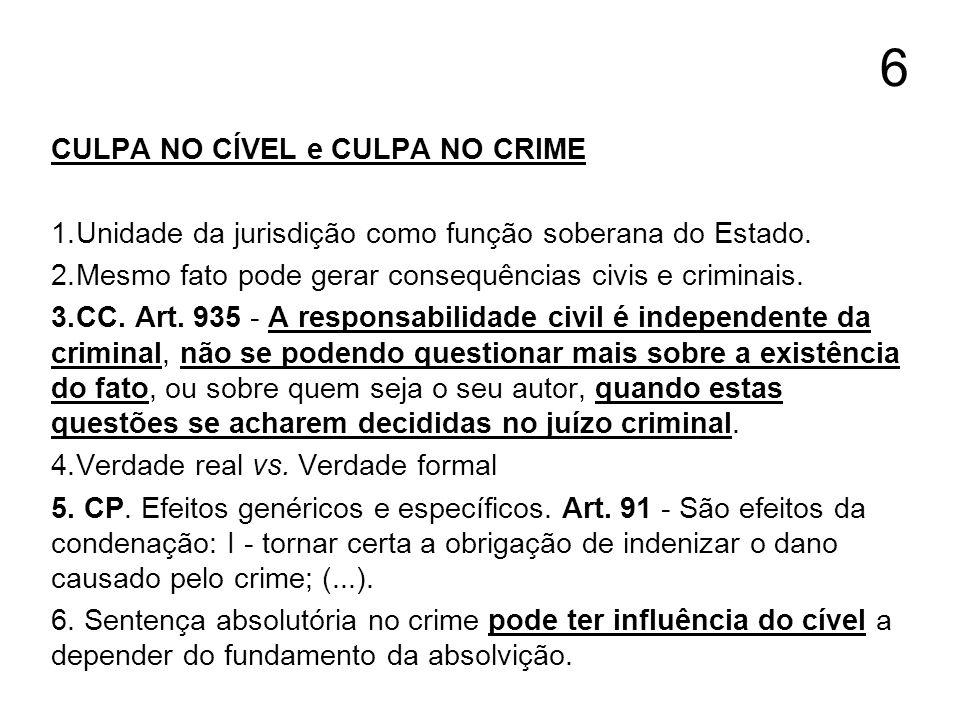 6 CULPA NO CÍVEL e CULPA NO CRIME 1.Unidade da jurisdição como função soberana do Estado. 2.Mesmo fato pode gerar consequências civis e criminais. 3.C