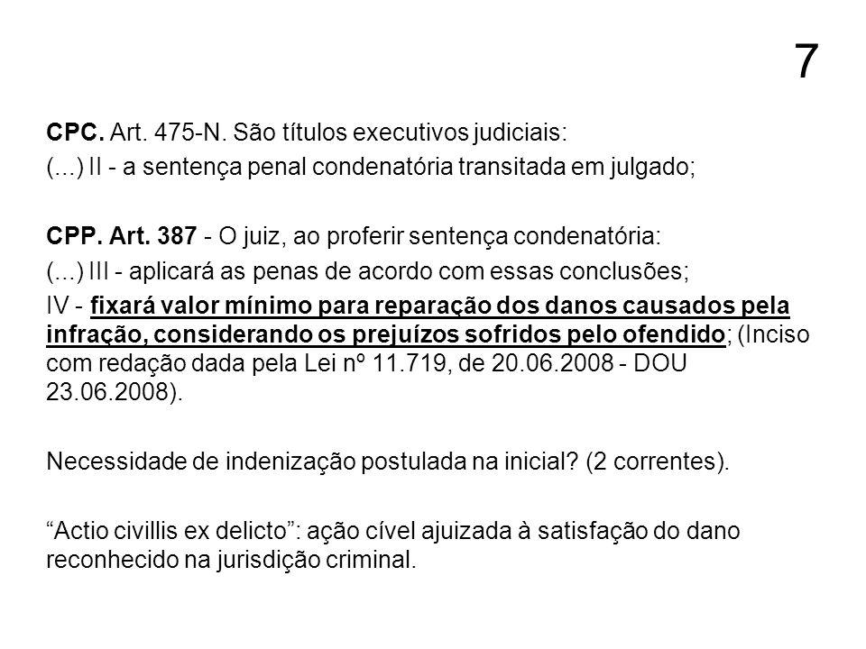 7 CPC. Art. 475-N. São títulos executivos judiciais: (...) II - a sentença penal condenatória transitada em julgado; CPP. Art. 387 - O juiz, ao profer